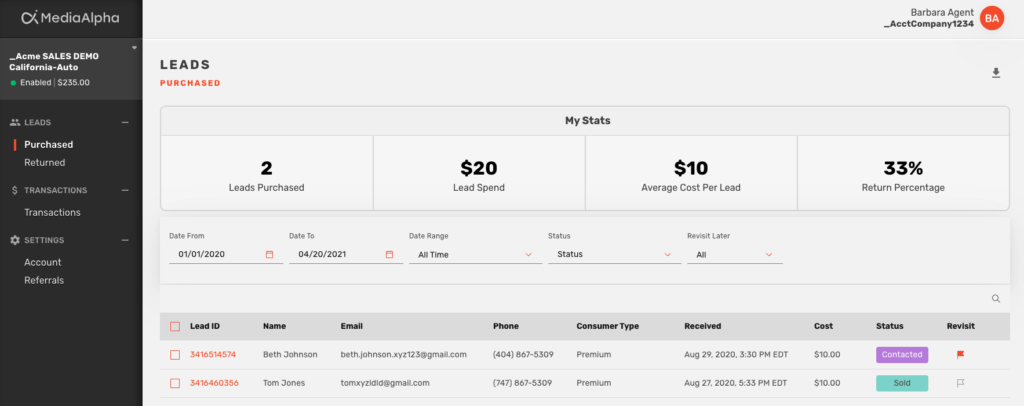 A screenshot of the MediaAlpha for Agents status tracking feature.
