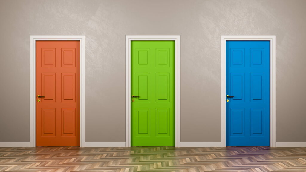 Three doors, representing insurance advertisers' options of using clicks, leads, and calls.