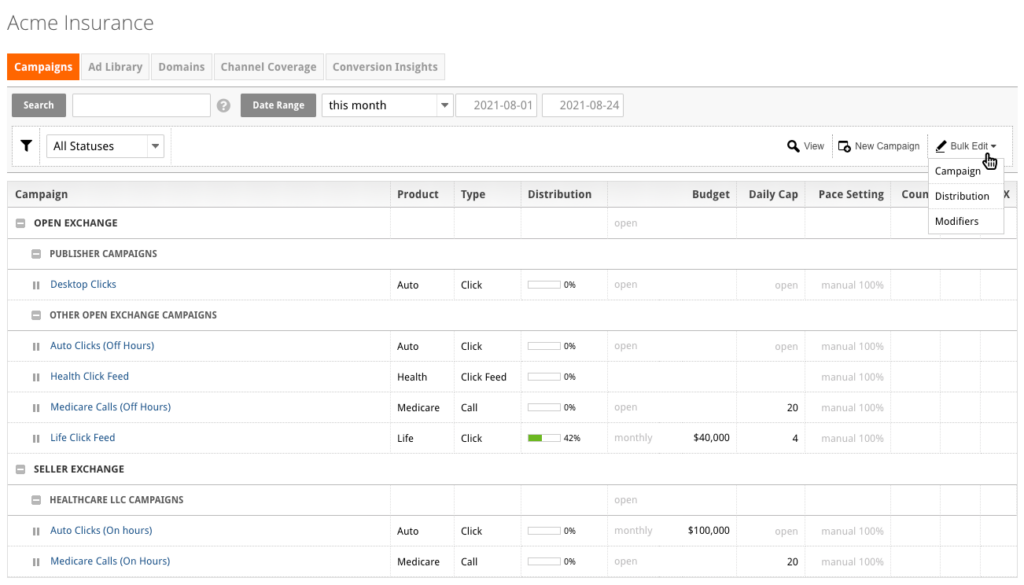 You can access the Bulk Edit feature on the Campaigns page of the platform.