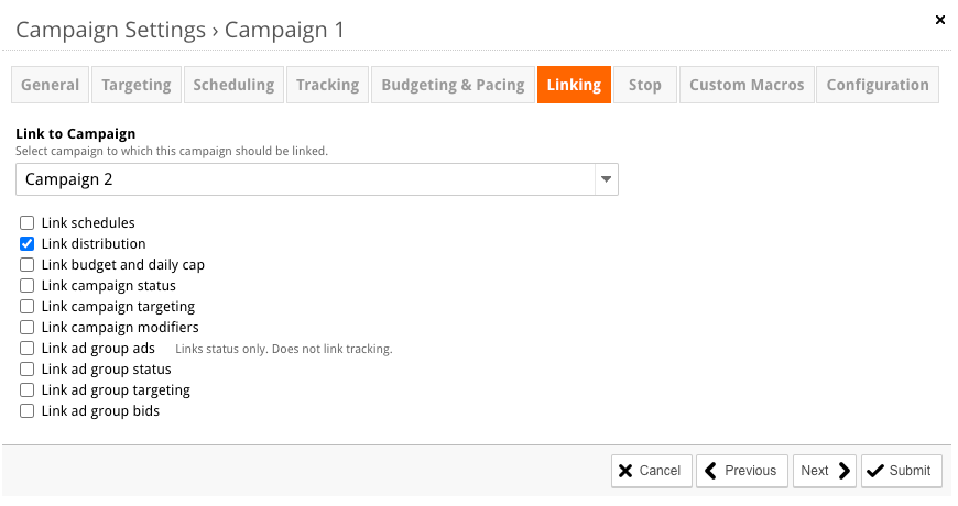 The Campaign Linking option can be found on the Settings page.